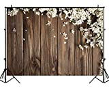 Funnytree 5X3ft Brown Wood White Flowers Photography Backdrop Floral Wedding Rustic Wooden Board Floor Background Bridal Shower Baby Birthday Party Banner Photo Studio Props