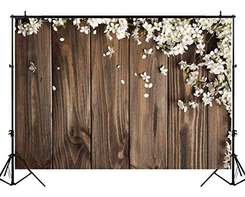 Funnytree 5X3ft Brown Wood White Flowers Photography Backdrop Floral Wedding Rustic Wooden Board Floor Background Bridal Shower Baby Birthday Party Banner Photo Studio Props -