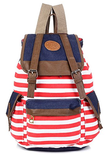 Greeniris mujer lona mochila vendimia raya colegio mochila para niña moda Rojo de la sandía