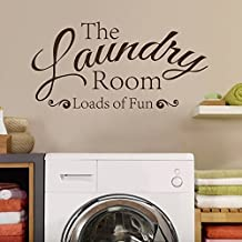 The Laundry Room Loads of Fun Laundry Room Wall Decals Wall Sticker Vinyl Lettering Removable Wall Decor (Brown,xs)