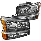 Spec-D Tuning 2LBLH-SIV03JM-RS Chevrolet Silverado Black Crystal Headlights, bumper lights