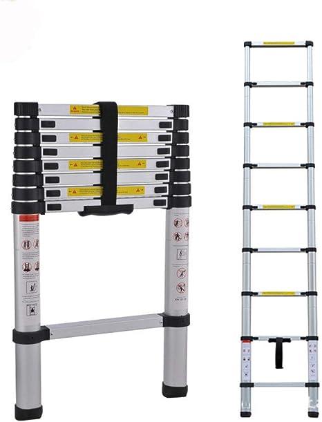 RFV Escalera de extensión para áticos, Escalera Plegable portátil de una Cara, Escalera de bambú de aleación de Aluminio para el hogar, Escalera de elevación de ingeniería Null/Plata / 2.6m: Amazon.es: Deportes