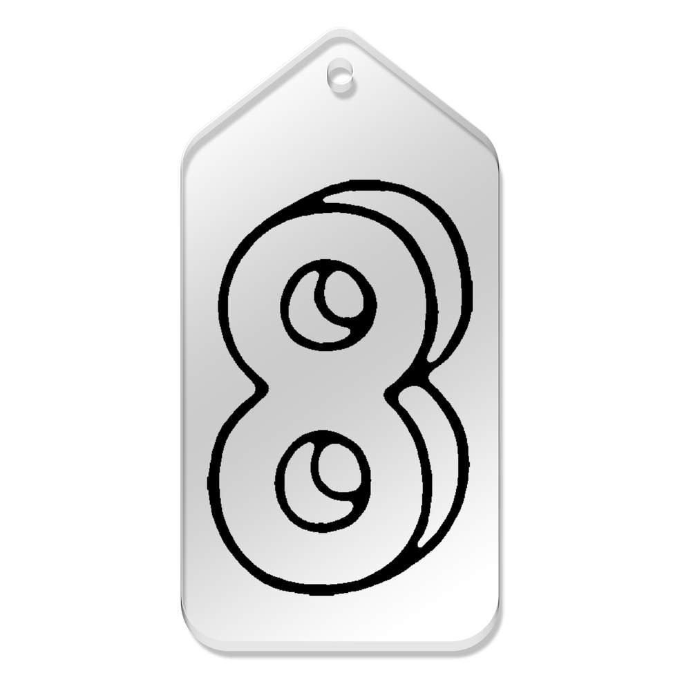 Azeeda 10 x Grand \'Numéro 8\' etiquettes de Bagage / Cadeau (TG00067152)