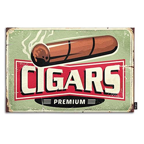 Mugod Cuban Cigar On Old Metal Indoor/Outdoor Doormat Cigars Store Retro Sign Design Template Funny Doormats Bathroom Kitchen Decor Area Rug Non Slip Entrance Door Floor Mats, 15.7