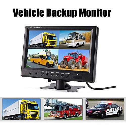 Podofo 9 TFT LCD Split Screen Quad Monitor CCTV Security Surveillance Car Headrest Video Display 4 RCA Connectors 6 Mode Display Remote Control