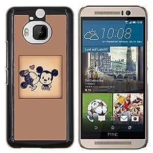 BearCase / Cubierta de protección Caso duro de la contraportada de Shell Plástico /// HTC One M9+ M9 Plus /// Orejas cartel de la historieta del beso de Brown