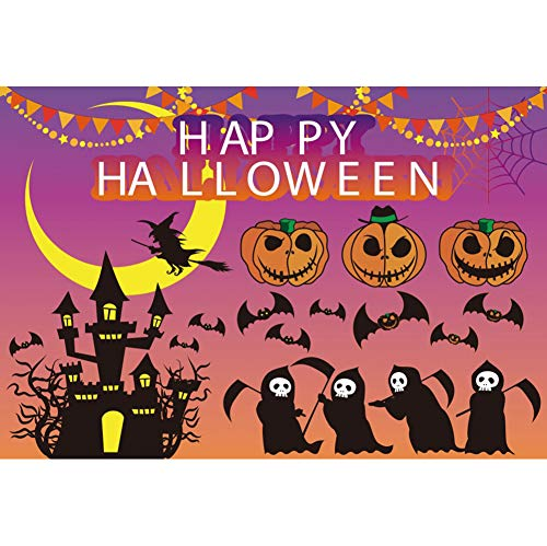 YongFoto 6x4ft Happy Halloween Backdrop Children's Cartoon Halloween Party Decoration Grimace Pumpkin Bats Ghost Castle Witch Broom Moon Web Flags Banner Kids Portrait Studio Props]()