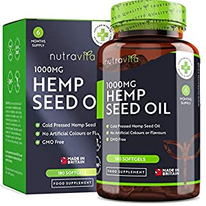 Hemp Oil 1000mg Supplement – 6 Months Supply – New Enriched Formula – 180 Softgel Capsules – Pure High Concentration Cold Pressed Hemp Oil – Made in The UK by Nutravita