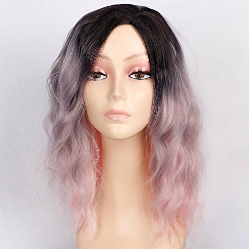 Colorful Bird Pink Ombre Wigs Synthetic Wavy Bob wigs 14 inches Medium Length Curly Wig Cosplay Daily Party Wigs For Women Free Wig Cap