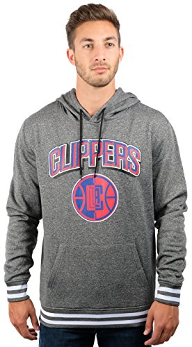 NBA Los Angeles Clippers Men's Fleece Hoodie Pullover Sweatshirt Rib Stripe, Large, Charcoal