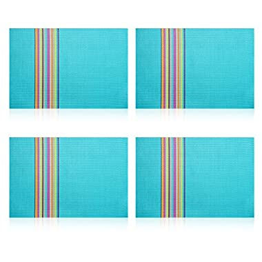 Shacos Rectangle PVC Placemats for Table Heat Insulation Stain-resistant Woven Vinyl Kitchen Placemat Set of 4 (blue)