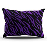 KEIBIKE Personalized Stripes Animal Rectangle Decorative Pillowcases Purple and Black Decor Zippered King Pillow Covers Cases 20x36 Inches One Sided