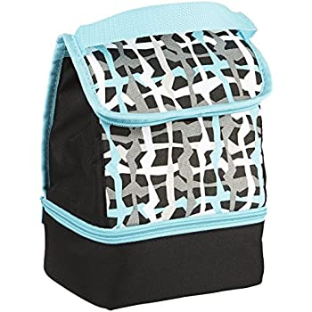 Fit & Fresh Kids' Austin Insulated Lunch Bag with Dual Zippered Compartments, Versatile Lunch Box for Boys, Hang Ten Plaid