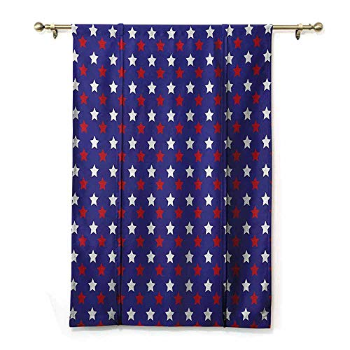HCCJLCKS Kitchen/Bedroom Insulation Roman Curtains USA United States of America Theme Federal Holiday Celebration Revolution Design Simple Style Dark Blue Red White W48 xL64 (Style Curtains Federal)