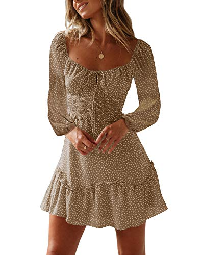Valphsio Womens Floral Print Mini Dress Smocked Tie Front Boho Swing Dresses ()