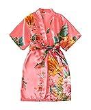 Zarachilable Kids' Satin Flower Girl Kimono Robe For Spa Party Wedding Birthday (Coral, Size 8)