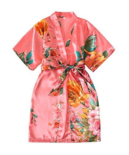 Zarachilable Kids' Satin Flower Girl Kimono Robe For Spa Party Wedding Birthday (Coral, Size 8) by Zarachilable