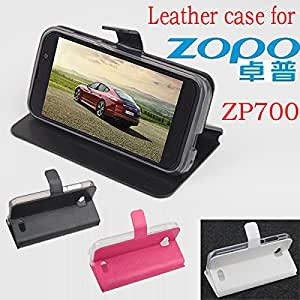 free shipping ZOPO ZP700 case cover, Good Quality Leather Case + hard Back cover For ZOPO ZP 700 cellphone --- Color:Black