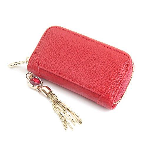 Women's Genuine Leather Zipper Key Case Car Key Holder 6 Hook Key Wallet (Red (6 Key Holder Wallet)