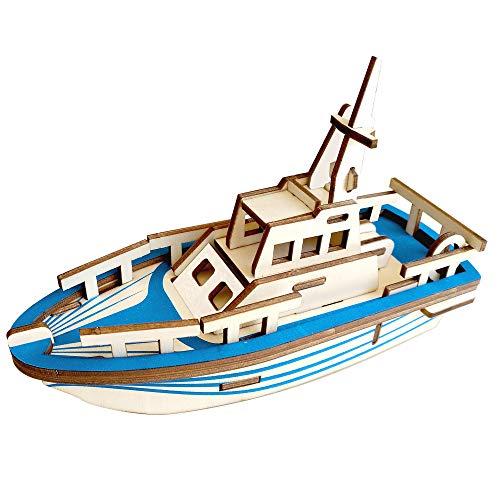 - BestPysanky 33 Pieces Cruiser Boat Model Kit - Wooden Laser-Cut 3D Puzzle