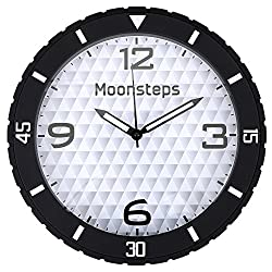 Moonsteps Rubber Tire Frame Silent Home & Office Wall Clock, Black