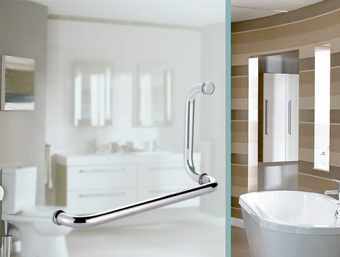Ranbo 22mm Dia 425mmx225mm Hole Center 304 Stainless Steel Shower Door Pull For Frameless bathroom Glass Doors Handle Polished 22mm Dia 17 x 9 inch