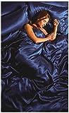 Lizzy Gorgeous 6Pcs Silk Satin Duvet Cover Silky Bedding Set Fitted Sheet, Duvet Cover & 4 x Pillow Cases Bed Linen Set Outlet (Double, Royal Blue)