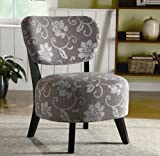 Accent Chair with Grey and White Floral Pattern in Dark Brown Wood Legs Review
