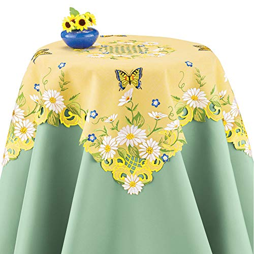 Collections Etc Daisies and Butterfly Yellow Table Linens with Greenery Accents - Bright Seasonal Dining Room Décor, Square