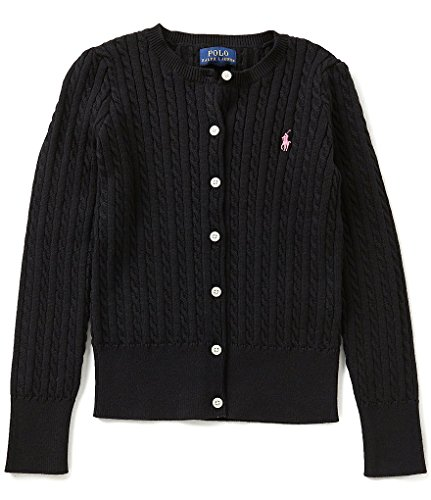 Ralph Lauren Girls Knit Sweater (RALPH LAUREN Polo Girls Cotton Knit Cable Cardigan Sweater (6X))