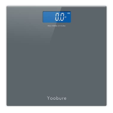 400lb / 180kg Digital Body Weight Bathroom Scale with Step-On Technology and Tempered Right Angle Glass Balance Platform … (Gray)