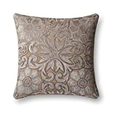 Loloi Pillow, Poly Filled - Silver / Taupe Pillow Cover, 22'' x 22''