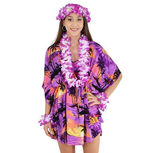 - ISLAND STYLE CLOTHING Poncho + Lei Set (Purple SS)