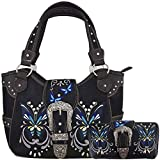 Western Style Butterfly Tooled Buckle Concealed Carry Purse Country Handbag Women Shoulder Bag Wallet Set (#2 Black)