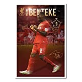 Liverpool FC Christian Benteke Poster Cork Pin Memo Board White Framed - 96.5 x 66 cms (Approx 38 x 26 inches)
