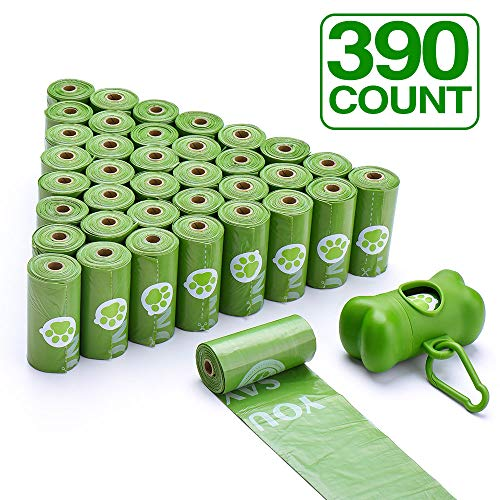 Cyttengo Earth Friendly Dog Poop Bags 100% leak-proof guarantee 26 Rolls/390 Bags with Dispenser Biodegradable Dog Waste Bags Unscented Leak-Proof Easy Tear-Off