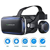 3D VR Headset Virtual Reality Glasses,VR Goggles Built-in Stereo Headphones Microphone for 3D Movies Video Games Comfortable for iPhone X 8 7 6 6s Plus Samsung S6 S7 and Other 4.7-6 Inches Smartphones