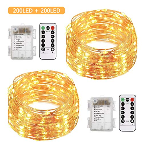 ALOVECO 2 Pack 66 Feet 200 Led Fairy Lights Battery Operated with Remote Control Timer Waterproof Copper Wire Twinkle String Lights for Bedroom Indoor Outdoor Wedding Dorm Decor Warm White