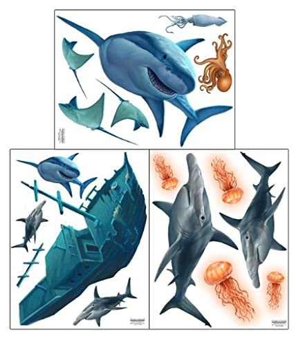 Shark Wall Decals ~Awesome Shark Creatures U0026 Sunken Pirate Ship Wall  Stickers: Boys Room