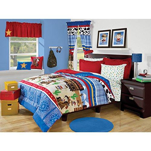 Blue Quilt Bandanas (3 Piece Boys Multi Color Wild West Comforter Full Set, Fun Kids Western Cowboy Horse Saloon Bedding, Cute Plaid Cow Print Cactus Bandana Themed Pattern, Blue Red Yellow Brown Green)