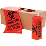 "40"" x 46"" x 1.3 mil 40 to 45 Gallon Red Plastic Biohazard Infectious Waste Can Liners (10 bags/roll, 10 rolls/case)"