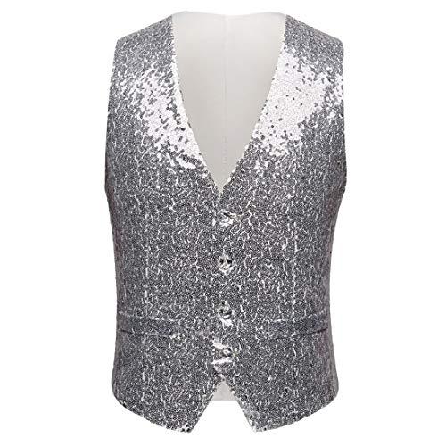 PYJTRL Mens Fashion Full Sequins Paillette Waistcoat (Silver, US 40R) ()