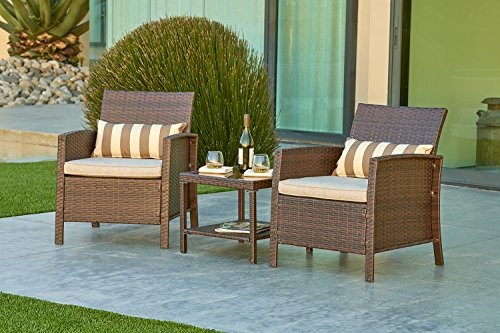 SOLVISTA Outdoor Furniture 3 Piece Bistro Set All Weather Brown Wicker With  Light Brown Waterproof