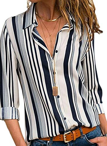 (MISSLOOK Women's Stripes Button Down Shirts Roll-up Sleeve Tops V Neck Casual Work Blouses - White XXL)