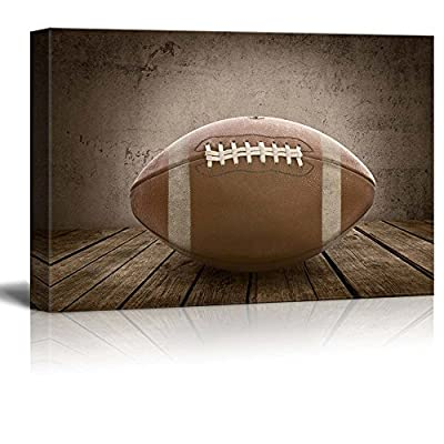 Touchdown! Football Rustic Rectangular Sport Panel - Celebrating American Sports Traditions - Canvas Art Home Art - 24x36 inches