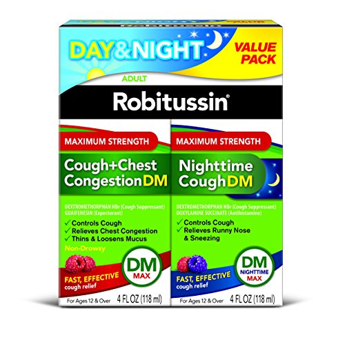 Robitussin Day & Night Max Strength Cough + Chest Congestion DM/Nighttime Cough DM Max, 4 Fl Oz, 2Count (Best Daytime Cough Suppressant)