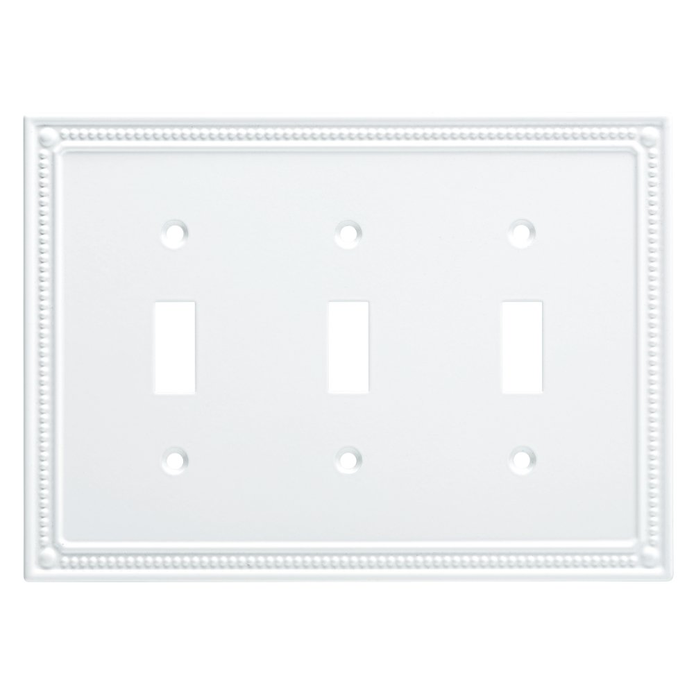 Franklin Brass W35066-PW-C Classic Beaded Triple Switch Wall Plate/Switch Plate/Cover, White by Franklin Brass