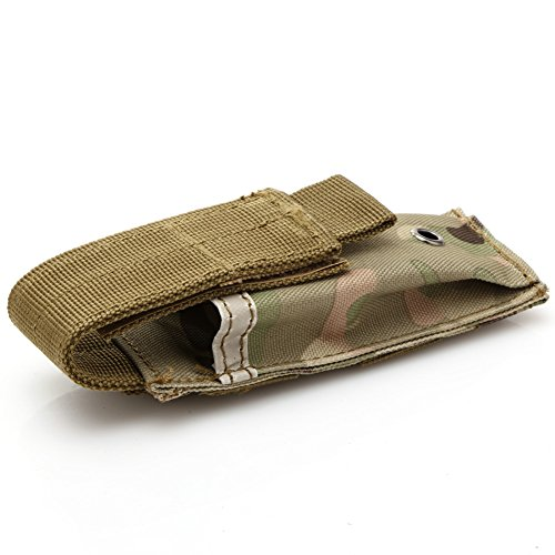 Military Tactical Single Pistol Magazine Pouch Knife Flashlight Sheath Airsoft Hunting Ammo Molle Pouch Multifunction (Horizontal Stacker)