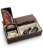 Baoyun Mens Valet Tray Organizer - Leather Nightstand Dresser Top Box with 5 Compartment for Accessories, Wallet, Phone, Keys