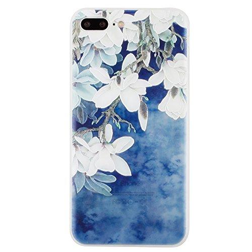 iPhone 7 Coque , Leiai Mode Couleur Lotus Ultra-mince Transparent Silicone Doux TPU Housse Gel Etui Case Cover pour Apple iPhone 7